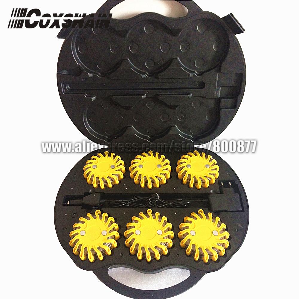 Rechargeable 6 Packs LED Traffic Warning Light, Emergency LED Road Flares Safety Beacon LED Traffic Warning Fireball Lights