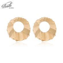 Badu Gold Silver Wave Earring Ruffle Big Stud Punk Statement Jewelry Twisted Metal Geometric Studs Wholesale