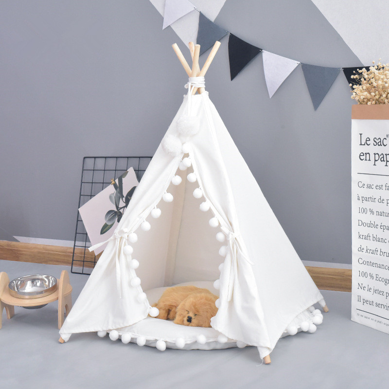White Canvas Pom Pom Pet Teepee 24 Inches