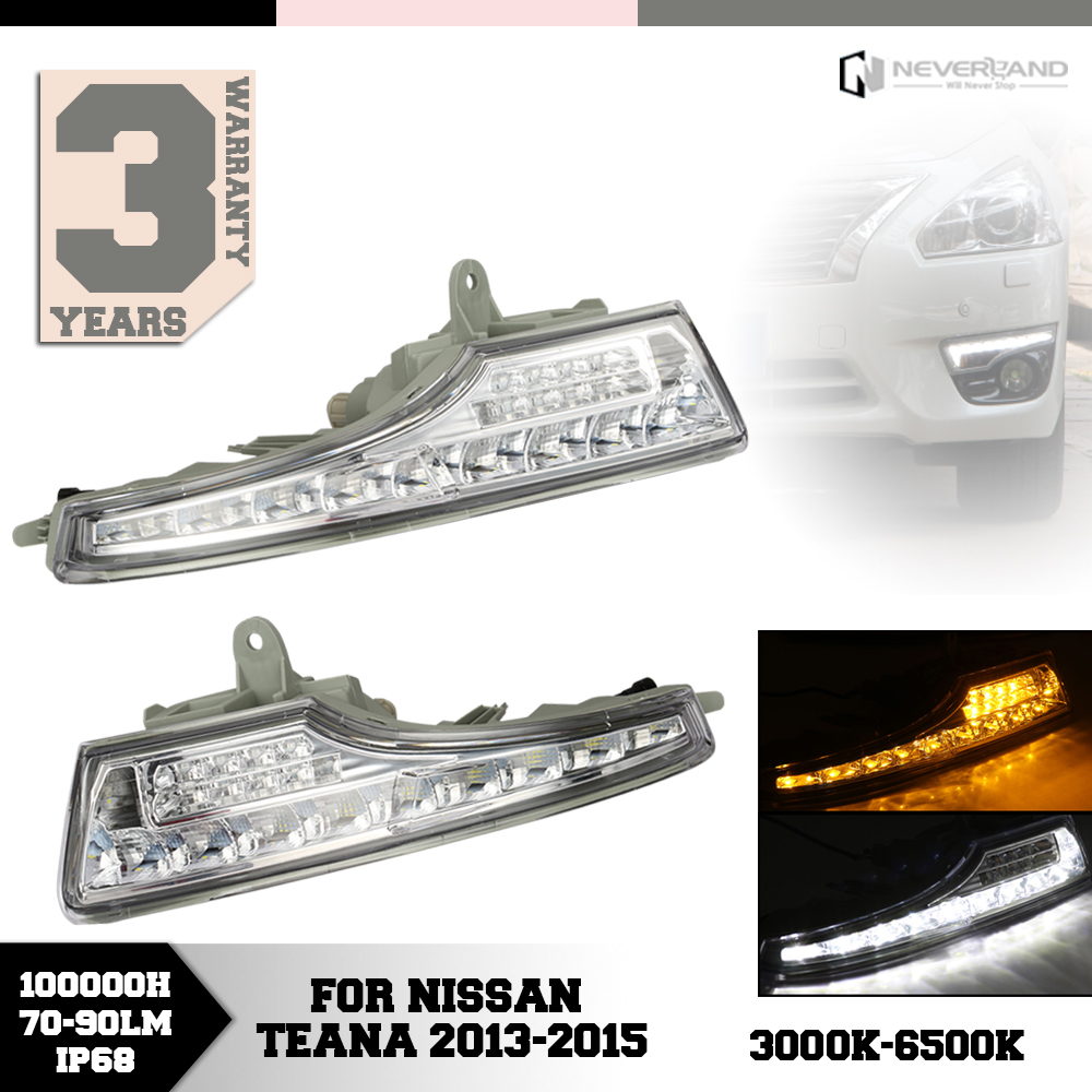 ФОТО For Nissan Teana 2013 2014 2015 Car LED Daytime Running Lights DRL Turn Signal Amber White Wholesale D15