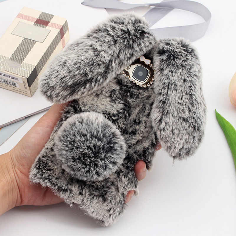 "Per Huawei GX8 Caso 3D Sveglio Caso Pelliccia di Coniglio Peloso Caldo Bling Rhinestone Peluche Bunny Girl Cover per Huawei G8 RIO L01 L02 5.5"""
