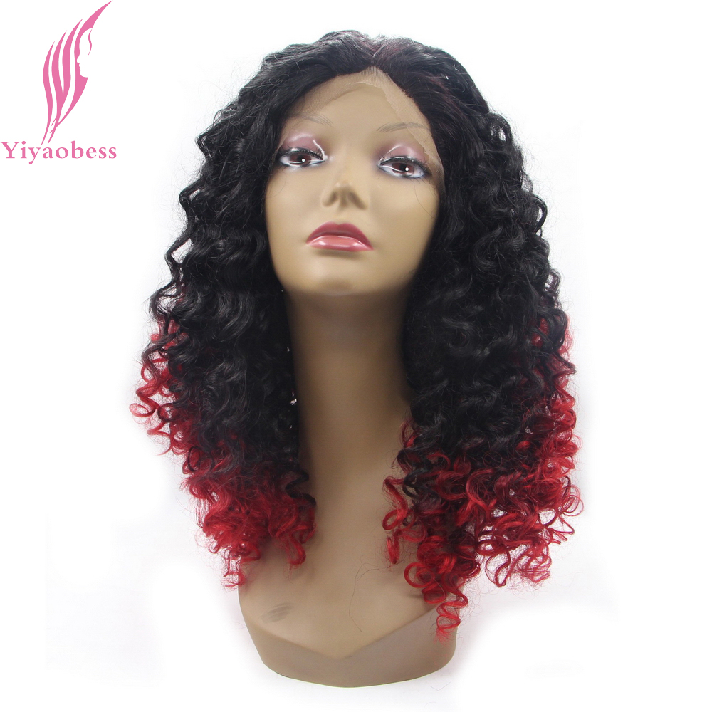 Yiyaobess 16inch Black Red Ombre Lace Front Wig Synthetic Hair Glueless Medium Long Kinky Curly Wigs For African Americans