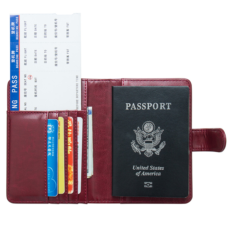 Usa Oil Portable Magnet Buckle Passport Cover Travel Passport Holder Built In Rfid Blocking Protect Personal Information Card & Id Holders Coin Purses & Holders