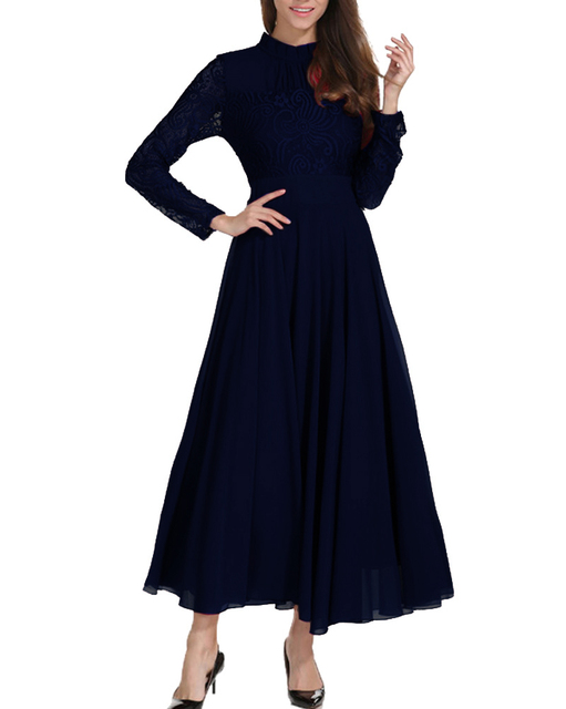 Roiii Winter Women Chiffon Dress Bohemian Sytle Full Sleeves A-Line Ankle Length Lace Ladies Weeding Party Dress Plus Size S-4XL