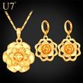 U7 flor africano conjunto banhado a ouro da moda brincos colar de jóias conjunto para as mulheres da moda jóias s773