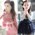 Clearance!! Girl's Dot Bedeck Tulle Bubble Long Sleeve Dress baby girls cute princess dress kids casual dresses