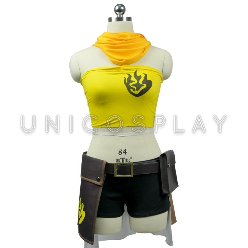 RWBY Yang Xiao Lange Jurk Cosplay Kostuum Geel Sjaal + Tube Top + Jas + Shorts + Riem + Taille tas + Handschoenen + Sokken + Puttee Meisje Feestjurk - 4