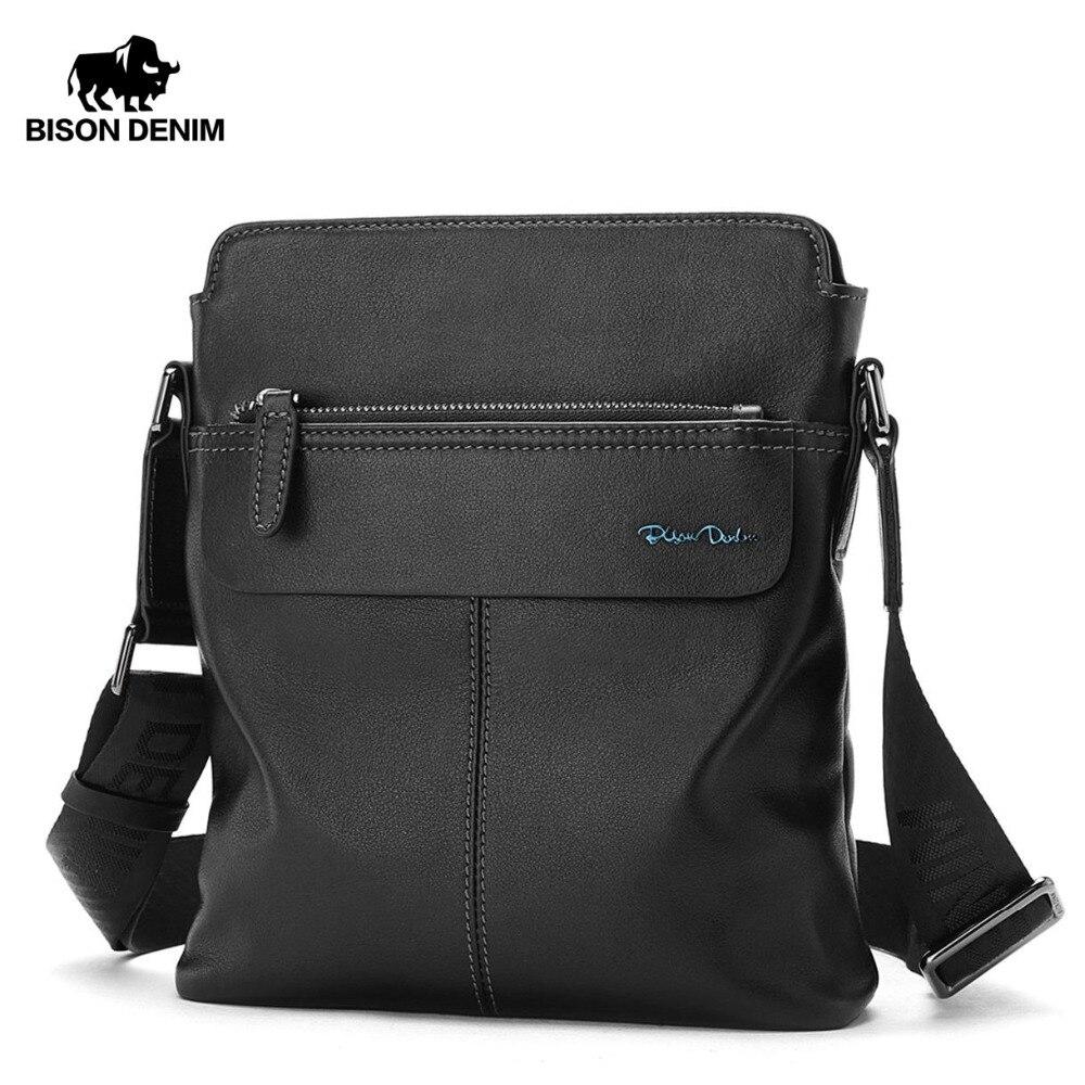 0fbfa5795 BISON DENIM Genuine Cowhide Leather Crossbody Bag Ipad Men's Bag Zipper Men  Messenger Bag Casual Male Shoulder Bag N2749-1B