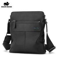BISON DENIM Genuine Cowhide Leather Crossbody Bag Ipad Men's Bag Zipper Men Messenger Bag Casual Male Shoulder Bag N2749 1B