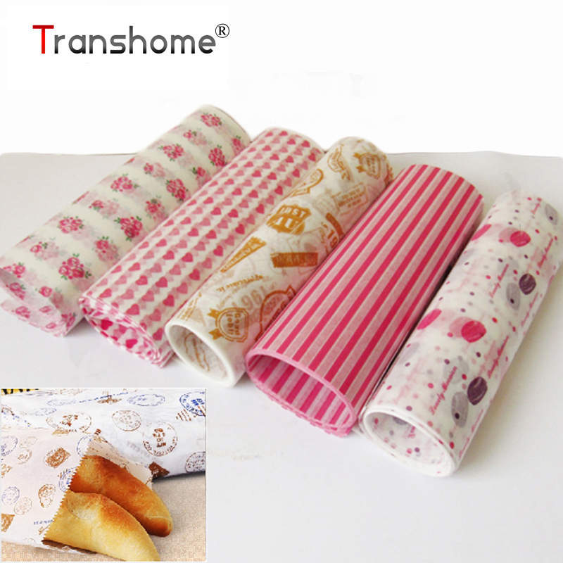 buy transhome 50 pcs set food packing paper waterproof food wax paper cake. Black Bedroom Furniture Sets. Home Design Ideas