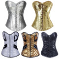 Faux Leather Cup Corset Sexy Gold Carnival Clubwear Showgirl Bustier Sequins Zipper Corselet Top Set S-2XL