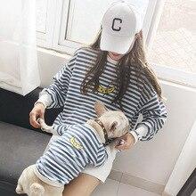 Strip Family Clothes For Dog Small Big Large Dog Clothes Coat Jacket Dog Hoodie Shirt Women Shirt Hoodie Dog Pajamas Clothing
