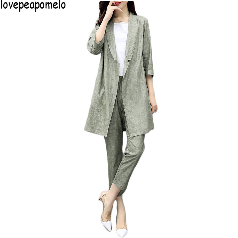 Spring Suit 2018 New Women Two-piece Cotton and linen Suit Jacket Nine Pants Casual Fash ...