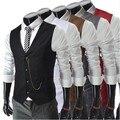 Novo Cavalheiro Britânico Homens Fino Colete Colete Terno de Negócio dos homens 2016 Moda Vest Men Gilet Coletes de Moda Plus Size