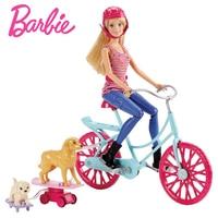 Original Barbie Doll Chelsea Princess Ride Bicycle Dog Play Skateboard Barbie Toys Figure Big Adventure Girl