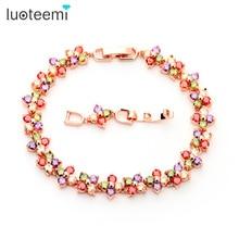 LUOTEEMI  New Design Rose Gold Color Women Chain Link Bracelet  Lucky Flower Wedding Jewelry Multicolor CZ Stones Wholesale