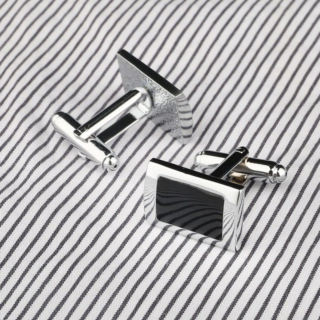 Simple Style Black Rectangle Cufflinks Mens Shirt Cuff Button Silver Plated Link Gemelos