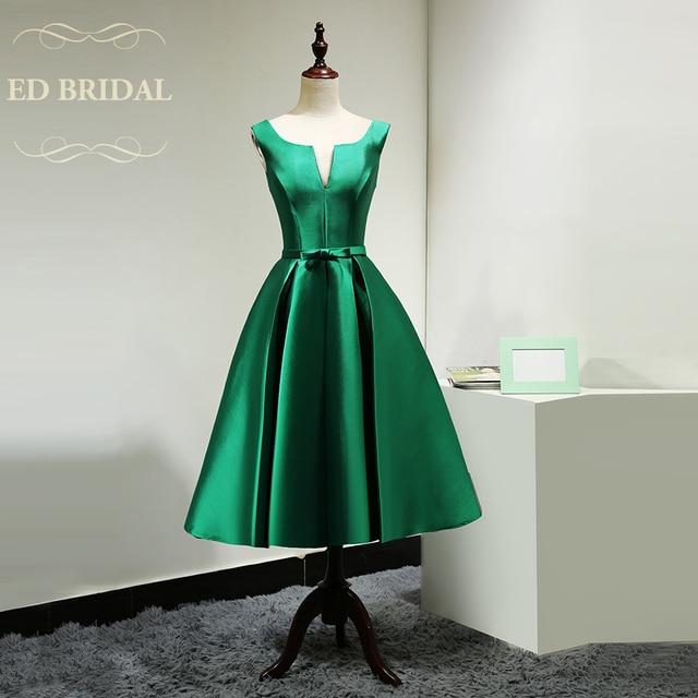 Green Tea Length Cocktail Dress