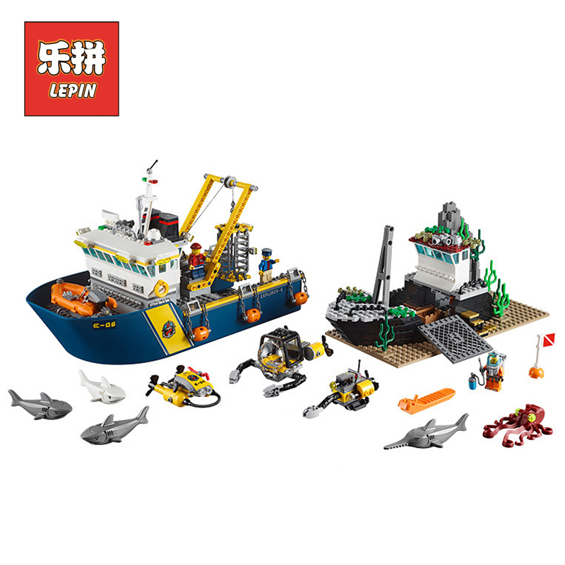 Lepin 02012 Creative City Series Deepwater Exploration Vessel DIY Set Model Building Kits Blocks Bricks Children Toys Hobbies ynynoo lepin 02043 stucke city series airport terminal modell bausteine set ziegel spielzeug fur kinder geschenk junge spielzeug