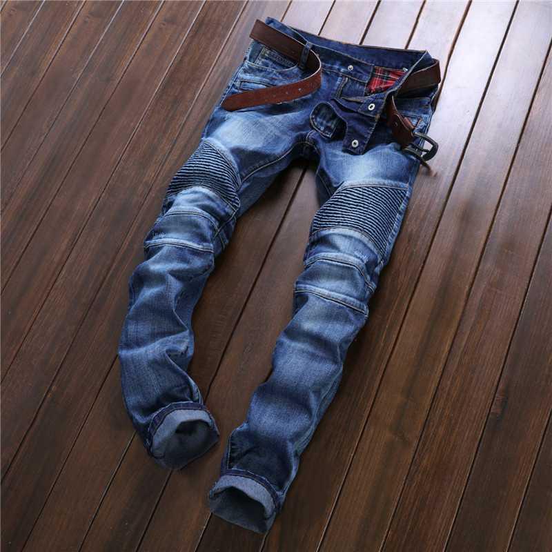 #3213 2016 Mens designer jeans Distressed Fashion Slim men jeans famous brand Biker jeans Famous brand men Hip hop jeaan Moto