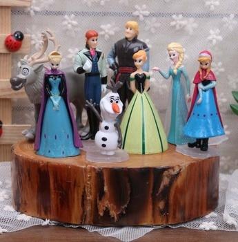 ディズニーおもちゃ8ピース/セット5-9センチ冷凍アンナエルザkristoffオラフアクションフィギュア用女の子キッズおもちゃファッション人形モデルのおもちゃ最高ギフト
