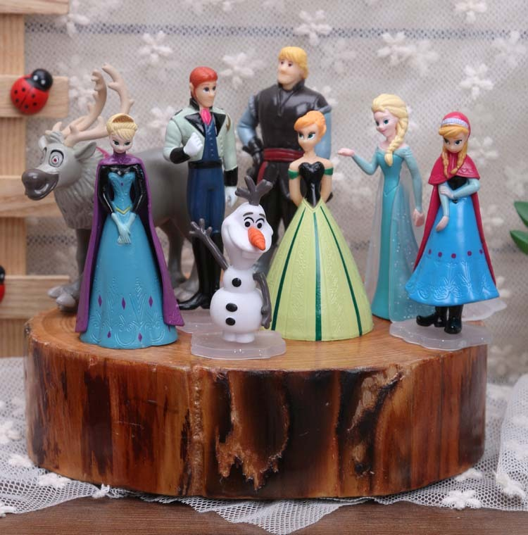 Disney Brinquedos 8 pçs/set 5-9 centímetros Congelado Anna Elsa Kristoff Olaf Figuras de Ação Para Crianças Meninas Brinquedos Fashion Dolls Modelos Brinquedos Melhor Presente