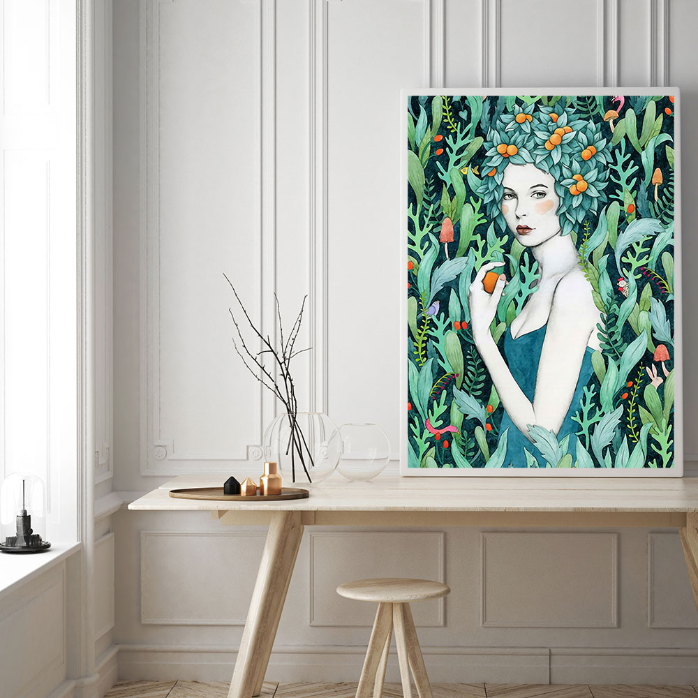 Modern Decoration Wall Art Canvas Poster Nordic Style Print Flower Girl Minimalist Painting For Living Room Decor Unframed