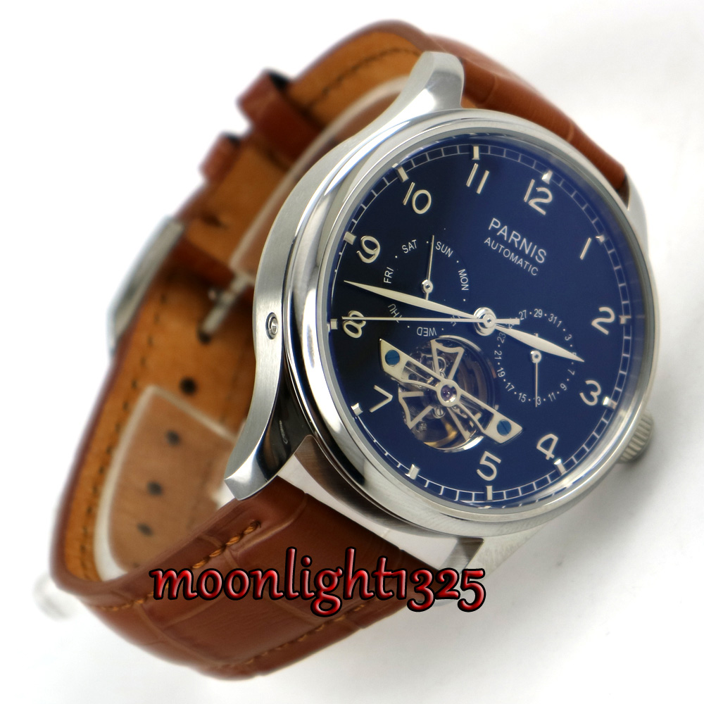 лучшая цена 43mm Parnis Black Dial Date Brown strap ST 2552 Automatic Movement Mens Watch