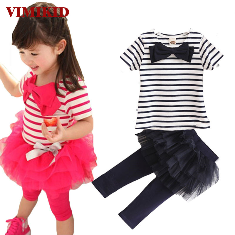 VIMIKID 2pcs Outfit Baby Kid Girl Stripe Bow Tops Tee Shirt+Tulle Tutu Skirt Legging Set kids clothing Dirls clothes set 2017 new halloween baby clothing pumpkin print long sleeve bodysuit tops dots leg warmer sequins bow headband outfit kid clothes