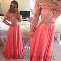 Luxury Evening Dresses Long Sleeves 2016 Appliques Chiffon Formal Evening Gowns For Wedding Party Prom Dresses Vestido De Festa