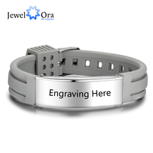 Personalized Custom Name Engrave Bracelet Bangle for Women Silicone ID Bracelets Stainless Steel Men Jewery (JewelOra BA102177) personalized stainless steel black silicone men bracelet gift men s id bracelets for man male jewelry custom engraved name