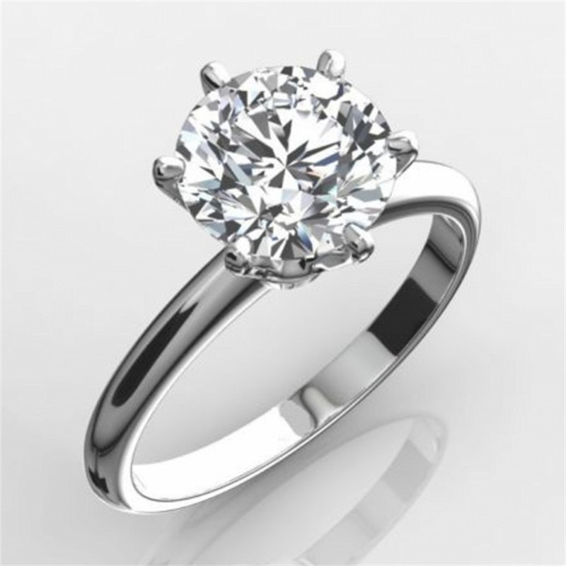 Classic Luxury Real Solid 925 Sterling Silver Ring 2Ct Round-cut SONA Diamond Wedding Jewelry Rings Engagement For Women SZ 4-10 luxury jewelry round cut sona diamond engagement ring in sterling silver