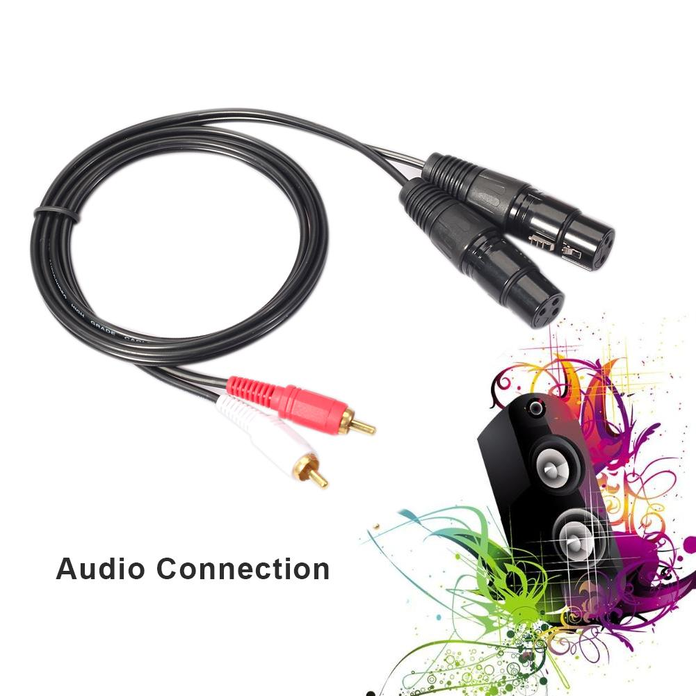 Dual Female <font><b>XLR</b></font> to RCA Cable, Heavy Duty <font><b>2</b></font> <font><b>XLR</b></font> Female to <font><b>2</b></font> RCA Male Patch Cable <font><b>HiFi</b></font> Stereo Audio Connection Microphone Cable Wi image
