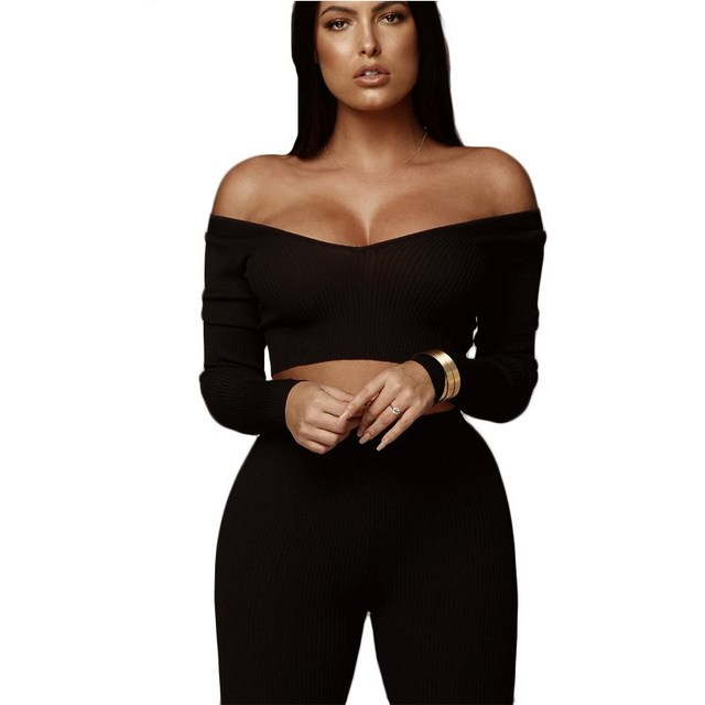Autumn Women Sexy 2 Piece Sets Casual V Neck Ribbed Long Sleeve Crop Top And Pants Sets Women Tracksuits