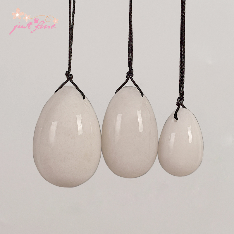 Birth Ball 3 pcs Drilled White Jade Yoni Egg Pelvic Kegel Exercise Tightening Vaginal Muscle Ben Wa Jade Eggs for Women himabm 1 pcs natural jade egg for kegel exercise pelvic floor muscles vaginal exercise yoni egg ben wa ball