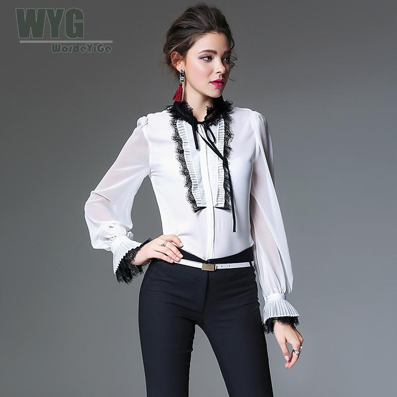a89a6d8da826c5 Ladies Yellow Blouses 2018 Spring Black Lace Stand Collar Pleated Flare Long  Sleeve Frill Front Fashion