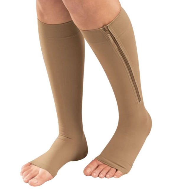 New Women Zipper Compression Socks Zip Leg Support Knee Sox Open Toe Sock S/M/XL Y1 3