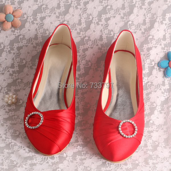 (20 Colors)Free Shipping Bride Shoes Flats Shoes Red Women Satin Shoes with Charms Customized
