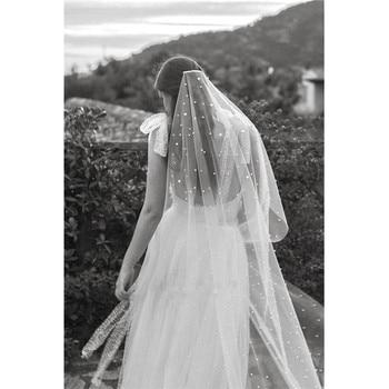 5b355741a8 2019 de velos novia boda velo blanco marfil tul con perlas velo 2 m velos  de novia de gasa de Mariage perles estrellas ESTRELLADO