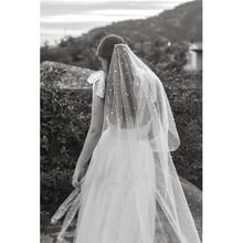 2020 Long Bridal veils 웨딩 베일 화이트 아이보리 Tulle Pearls with comb Veil 2m velos de novia voile Mariage Perles 별 별이 빛나는