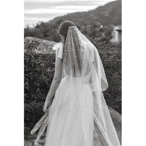 Image 1 - 2020 Long Bridal veils Wedding Veil White Ivory Tulle Pearls with comb Veil 2m velos de novia voile Mariage Perles Stars Starry