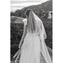 2020 lange Braut schleier Hochzeit Schleier Weiß Elfenbein Tüll Perlen mit kamm Schleier 2m velos de novia voile Mariage perles Sterne Sternen
