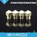 Hot! 2 pçs/lote mk10 m7 rosca extrusora makerbot impressora 3d bocal de bronze 0.2/0.3/0.4/0.5mm para 1.75mm flashforge creator pro