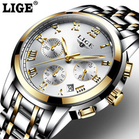 Top Brand Luxury Fashion Casual Quartz Watch Men Sport Full Steel Waterproof Wristwatch Relogio Masculino LIGE