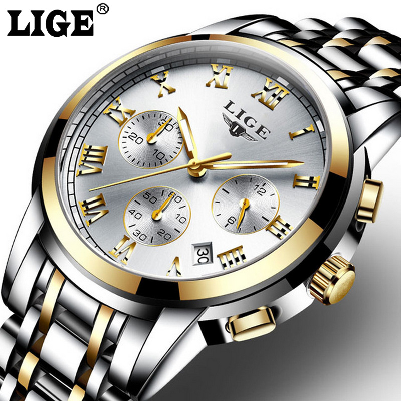 Top Brand Luxury Fashion Casual Quartz Watch Men Sport Full Steel Waterproof Wristwatch relogio masculino LIGE Mens Watches weide popular brand new fashion digital led watch men waterproof sport watches man white dial stainless steel relogio masculino