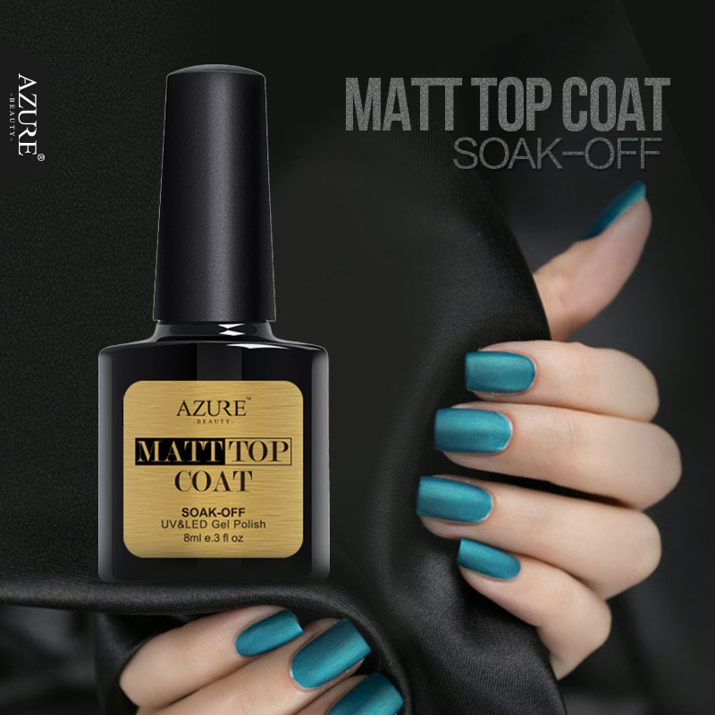 AZURE BEAUTY Matt Top Coat Nail Art Varnish Lucky Color Gel Nails Polish For Nails Art Design Manicure UV Soak Off Gel Lacquer