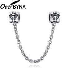 Octbyna Vintage Silver Color Charm Plant Flower Safety Chain With Chain Clip Beads Fits Pandora Bracelet DIY Jewelry Making(China)