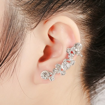 hot sale Women Fashion luxury earrings gold Color Full Rhinestone Crystal Flower Alloy Vine Ear Cuff Earrings only for left ear золотые серьги по уху