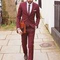 2016 Высокое Качество Красное вино Свадебные Костюмы Для Мужчин На Заказ Slim Fit Костюм Homme Индивидуальные Плюс Размер Ternos