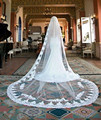white/Ivory Beautiful Cathedral Length Lace Edge Wedding Bridal Veil With Comb